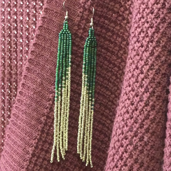 Handcrafted pretty long sead bead earrings